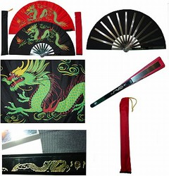 martial arts weapons tessen fighting fan dragon satin