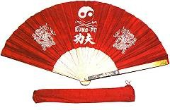 Weapons ITEM: WEA-9202-A1 FIGHTING FAN KUNG-FU 14 3/4x27 1/2 Inches Red  nylon fan with aluminum staves Class Sak-01