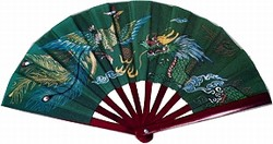 Weapons ITEM: WEA-9208-A1 Fighting Fan DRAGON AND PHOENIX BAMBOO FIGHTING  FAN 10 in  x 18 in  Green nylon fan with bamboo staves Class Sak-01